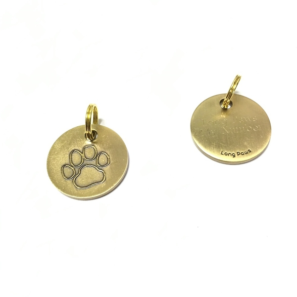 Long Paws Antique Gold Dog tag with a Paw Design