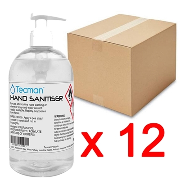 Hand Sanitiser 70% Alcohol Box of 12 x 250ml Bottles