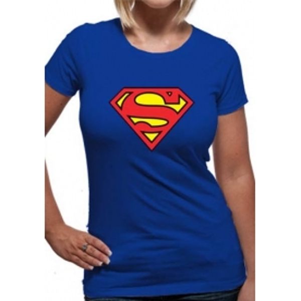 Superman Logo DC Essentials Range Womens T-Shirt XX-Large - Blue