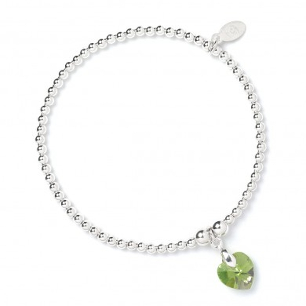Peridot Swarovski Crystal Heart with Sterling Silver Ball Bead Bracelet