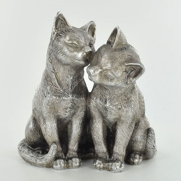 Antique Silver Pair Of Cats Ornament
