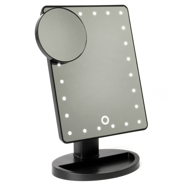 LED Light Up Illuminated Make Up Bathroom Mirror With Magnifier | M&W Black New - Image 2