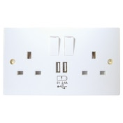 Connekt Gear USB Charging Wall Socket 2 x Type A Ports (2.4 Amp) UK
