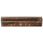 Mango Wood Incense Box with Brass Pentagram Inlay Pack Of 4