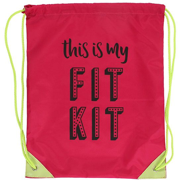 This is my Fit Kit Drawstring Bag
