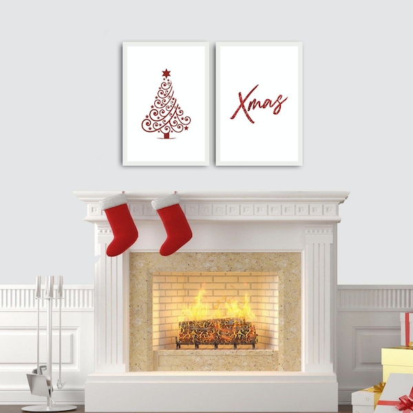 2PBCTNOEL-03 Multicolor Decorative Framed MDF Painting (2 Pieces)