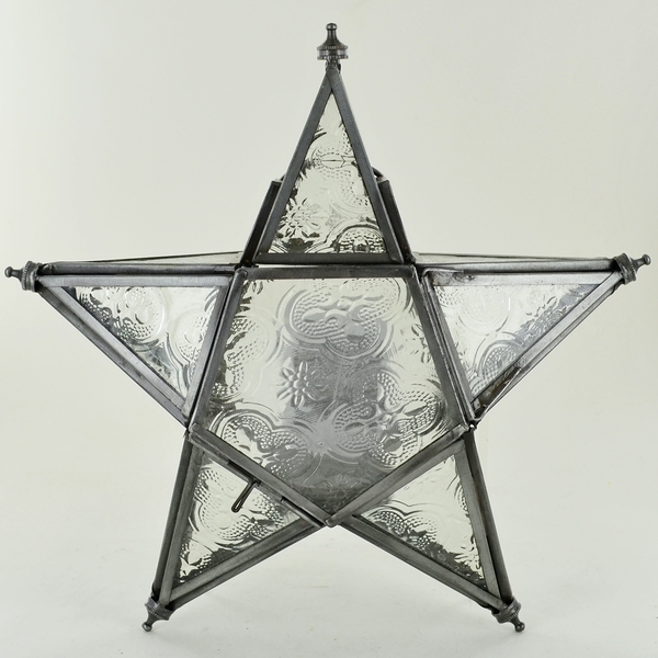 Iron Clear Glass Hanging Lantern 5 Point Star