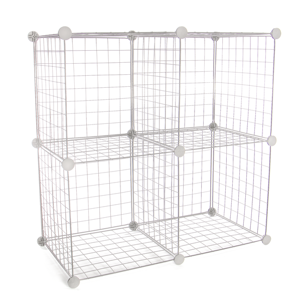 4 Cube Wire Storage Shelves | Pukkr White