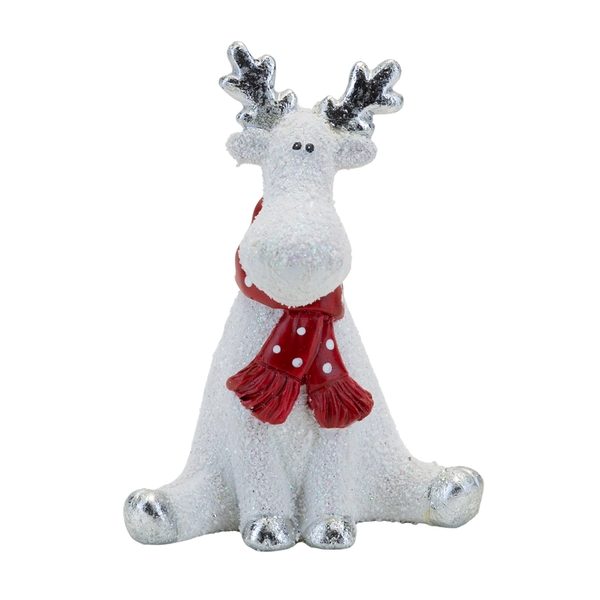 Sitting reindeer with Scarf Ornament