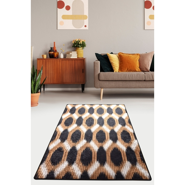882CHL3246 Gold and Black Djt 80 x 200 Multicolor Rug (80 x 200)