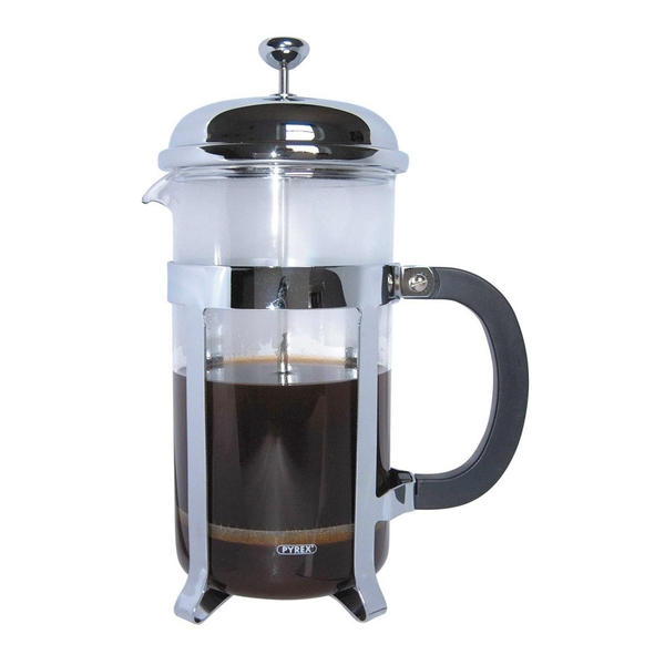 Cafe Ole by Grunwerg 8-Cup Classic Coffee Maker Glass Cafetiere Chrome Finish 1 Litre