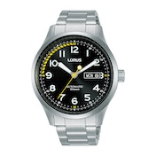Lorus RL457AX9 Mens Black Dial Automatic Watch with Stainless Steel Bracelet