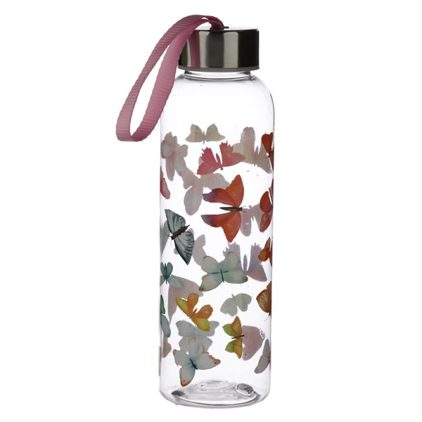 Butterfly House 500ml Reusable Plastic Water Bottle with Metallic Lid