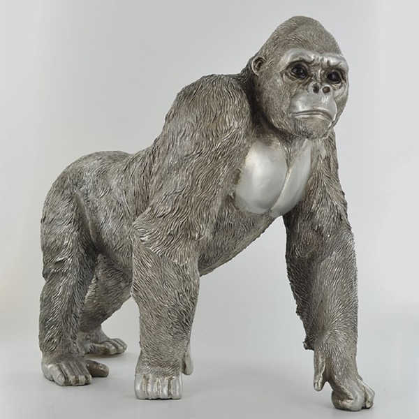 Antique Silver Large Gorilla Standing Ornament