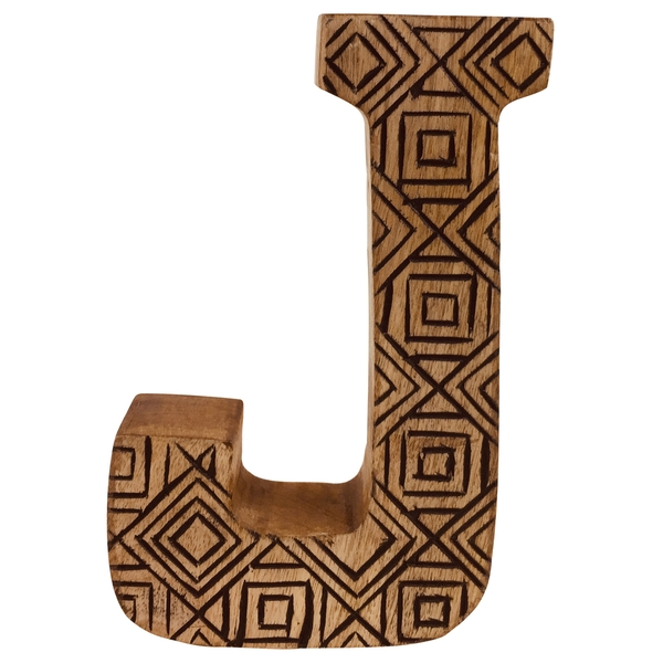Letter J Hand Carved Wooden Geometric