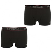 Lonsdale 2 Pack Mens Trunk Boxer Shorts Black Medium