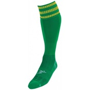 PT 3 Stripe Pro Football Socks Mens Green/Gold