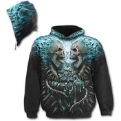 Flaming Spine Allover Men's Large Hoodie - Black