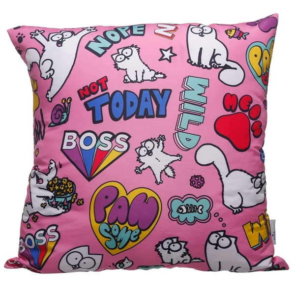 Pink Simon's Cat Pawsome Cushion with Insert
