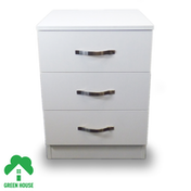 Wooden Chest of Drawers, Bedside Cabinet Bedroom Furniture Green House 3 Drawer Bedside White