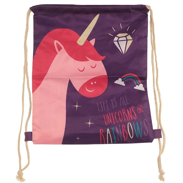 Rainbow Unicorn Slogan Handy Drawstring Bag