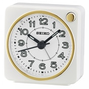 Seiko QHE144W Analogue Bedside Beep Alarm Clock with Light White