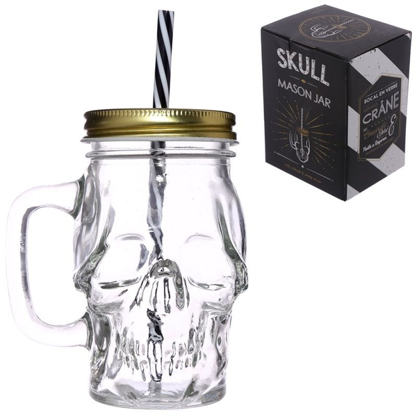 Skull Shaped Glass Drinking Jar with Straw