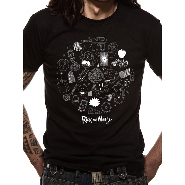 Rick And Morty - Icons Men's XXL T-shirt - Black