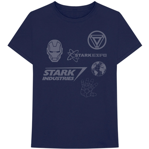 Marvel Comics - Iron Man Stark Expo Men's Large T-Shirt - Navy Blue