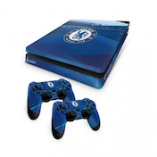 Official Chelsea FC PS4 Slim Console Skin and 2x Controller Skin Combo Pack