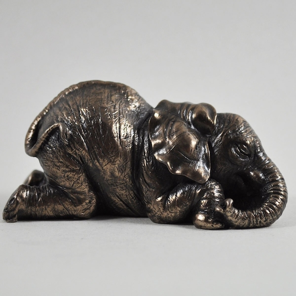 Elephant Lying Down Cold Cast Bronze