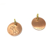 Long Paws Antique Gold Dog tag with a Bone Design