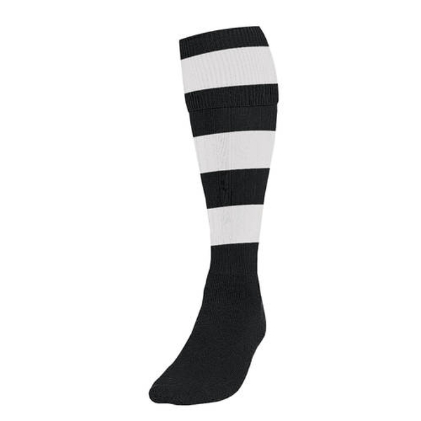 Precision Hooped Football Socks Large Boys Black/White