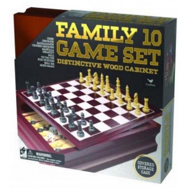 Classic Wood Family 10 Game Set Black & Gold Board Game