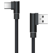 Akasa USB 2.0 A (M) to Right-Angled USB 2.0 C (M) 1m Black Retail Packaged Data Cable
