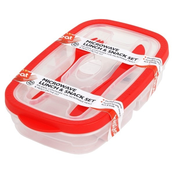 Heat & Eat Lunch Box With Cutlery Assorted Colours