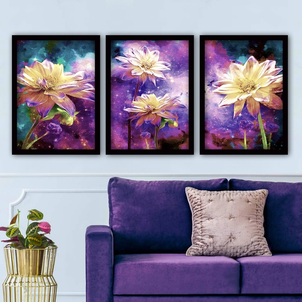 3SC88 Multicolor Decorative Framed Painting (3 Pieces)