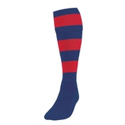 Precision Hooped Football Socks Large Boys Navy/Red