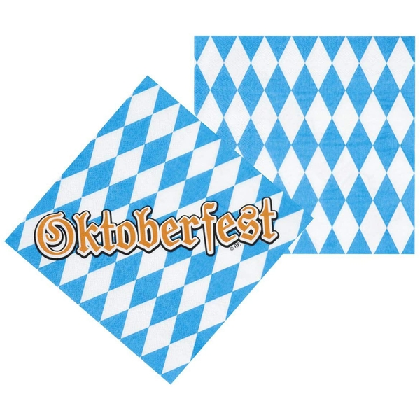 Oktoberfest Blue/White Napkins (Pack Of 12)