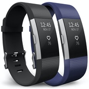 Yousave Fitbit Charge 2 Strap 2-Pack (Small) - Black/Blue