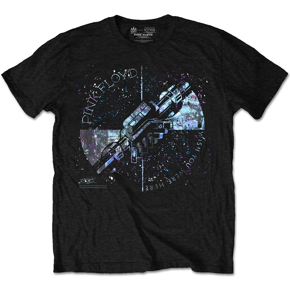 Pink Floyd - Machine Greeting Blue Unisex Medium T-Shirt - Black