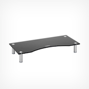 VonHaus Small Black Glass Monitor Stand - Suitable for Monitors, Laptops and Small TVs
