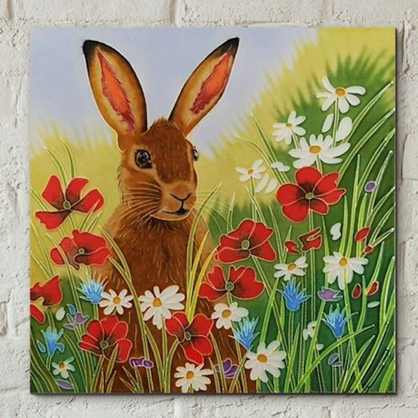 Tile 8x8 Hare In Flowers By Judith Yates Wall Art