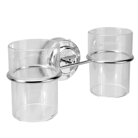 Suction Cup Double Toothbrush Tumbler Holder   M&W