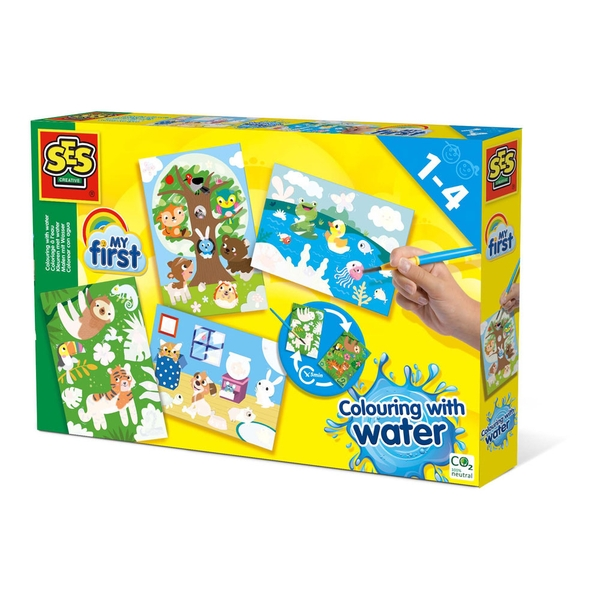 SES Creative Children's My First Colouring with Water Hidden Animals Activity Set