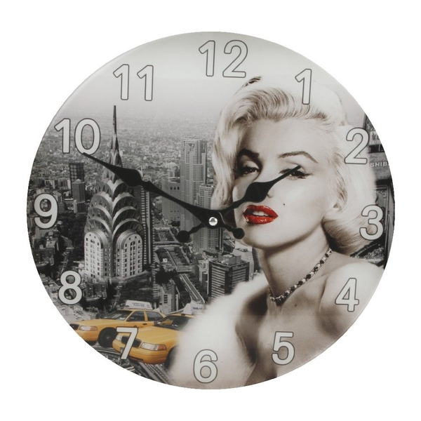 Iconic Collection Glass Wall Clock Marilyn Monroe Design | 30cm