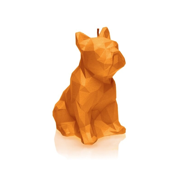 Orange Low Poly Bulldog Candle