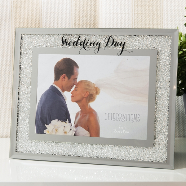 Celebrations Crystal Border Frame - Wedding Day
