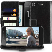 Sony Xperia XZ1 Compact Real Leather Wallet Case with ID Slots - Black