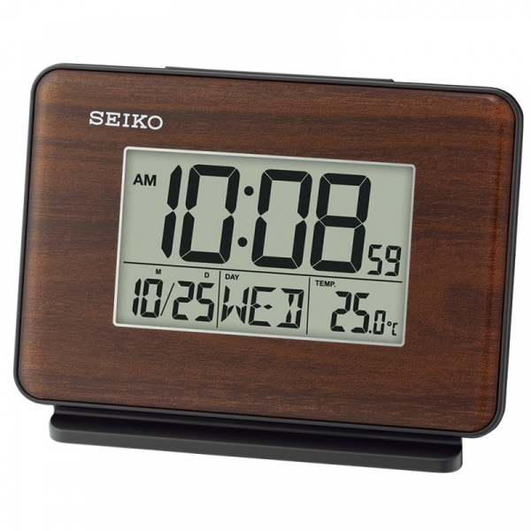 Seiko QHL068B LCD Dual Alarm Clock with Calendar and Thermometer Brown Wood Pattern